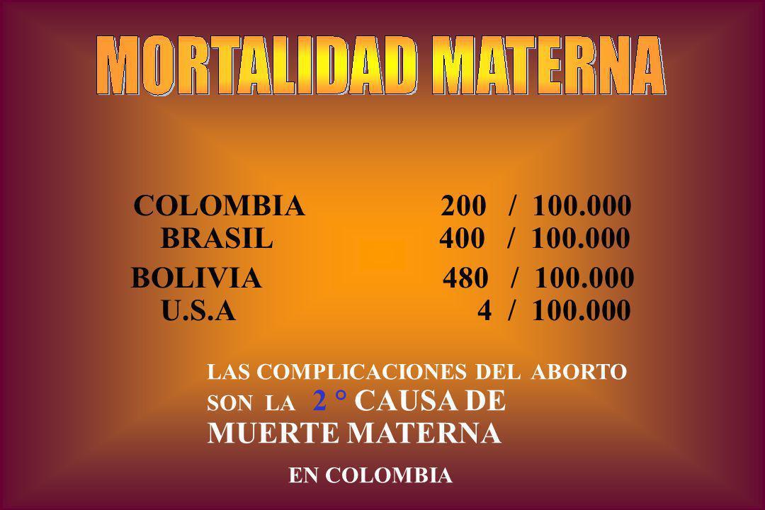 COLOMBIA 200 / 100.000 BRASIL 400 / 100.000 BOLIVIA 480 / 100.000 U.S.A 4 / 100.000 LAS COMPLICACIONES DEL ABORTO SON LA 2 ° CAUSA DE MUERTE MATERNA EN COLOMBIA