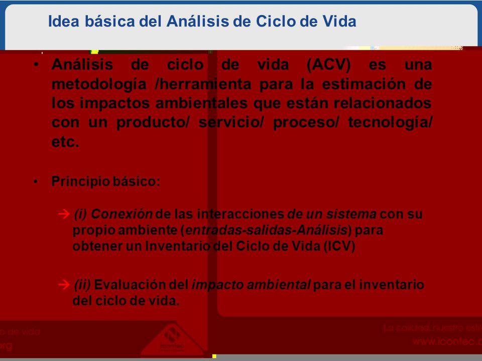 Idea básica del Análisis de Ciclo de Vida Análisis de ciclo de vida (ACV) es una metodología /herramienta para la estimación de los impactos ambientales que están relacionados con un producto/ servicio/ proceso/ tecnología/ etc.