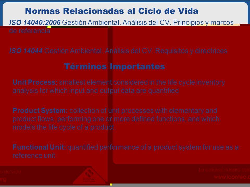 Normas Relacionadas al Ciclo de Vida ISO 14040:2006 Gestión Ambiental. Análisis del CV. Principios y marcos de referencia ISO 14044 Gestión Ambiental.