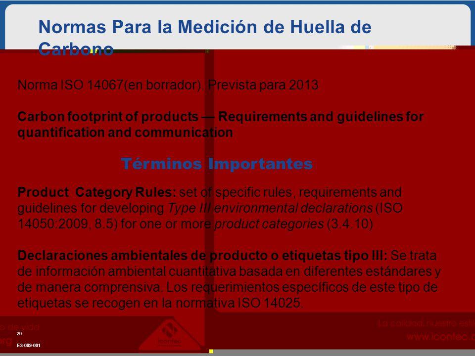 Normas Para la Medición de Huella de Carbono 20 ES-009-001 Norma ISO 14067(en borrador). Prevista para 2013 Carbon footprint of products Requirements