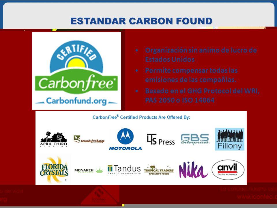 Organización sin animo de lucro de Estados Unidos Permite compensar todas las emisiones de las compañias. Basado en el GHG Protocol del WRI, PAS 2050