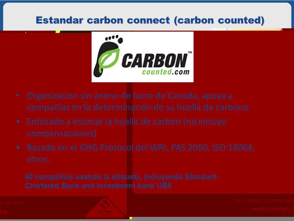 Estandar carbon connect (carbon counted) Organizacion sin ánimo de lucro de Canada, apoya a compañías en la determinación de su huella de carbono Enfocado a estimar la huella de carbon (no incluye compensaciones) Basado en el GHG Protocol del WRI, PAS 2050, ISO 14064, otros.