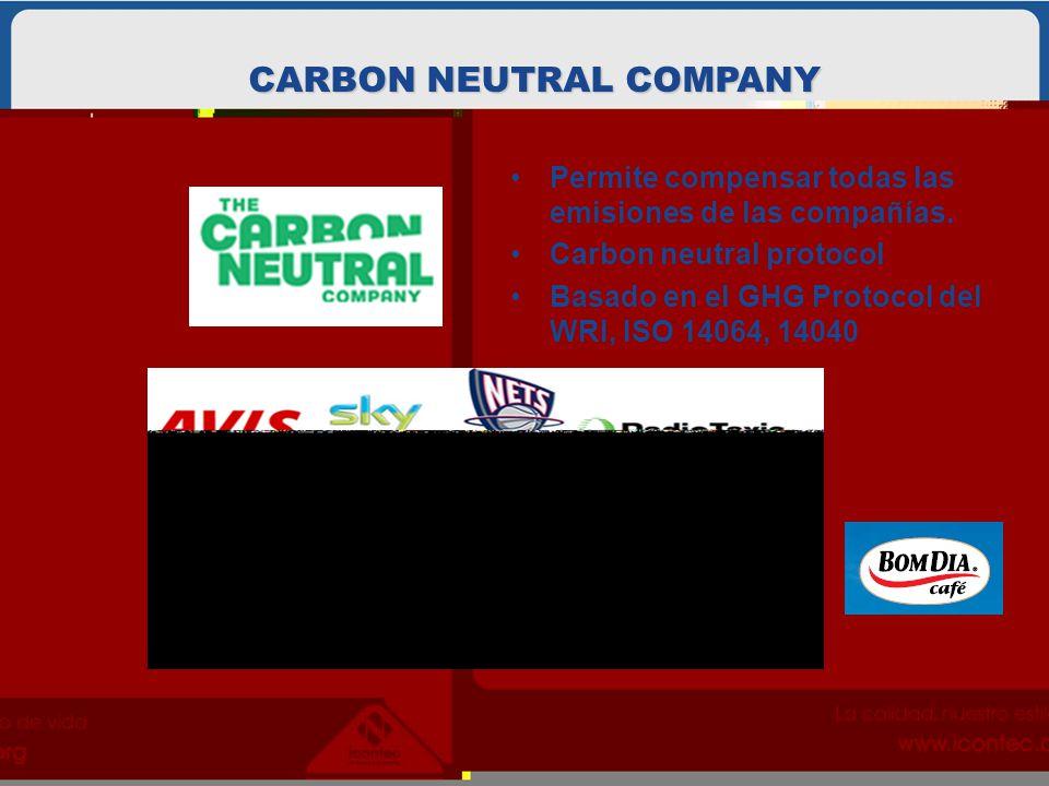 Permite compensar todas las emisiones de las compañías. Carbon neutral protocol Basado en el GHG Protocol del WRI, ISO 14064, 14040 CARBON NEUTRAL COM