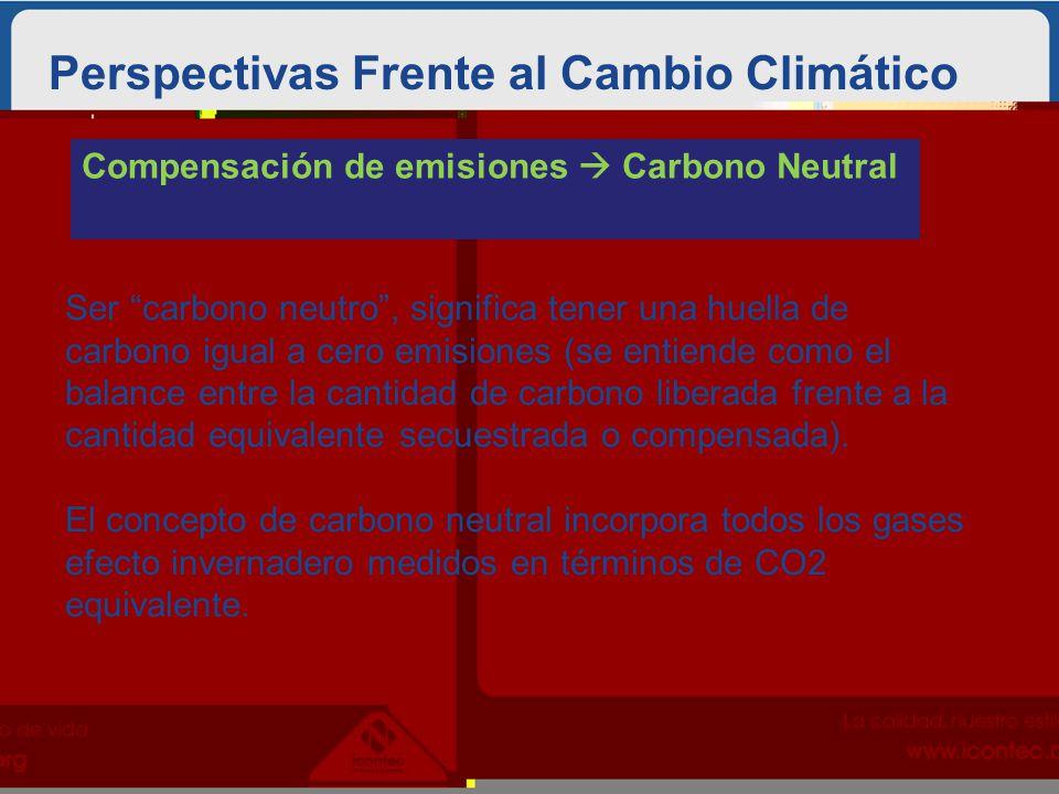 Perspectivas Frente al Cambio Climático Compensación de emisiones Carbono Neutral Ser carbono neutro, significa tener una huella de carbono igual a cero emisiones (se entiende como el balance entre la cantidad de carbono liberada frente a la cantidad equivalente secuestrada o compensada).