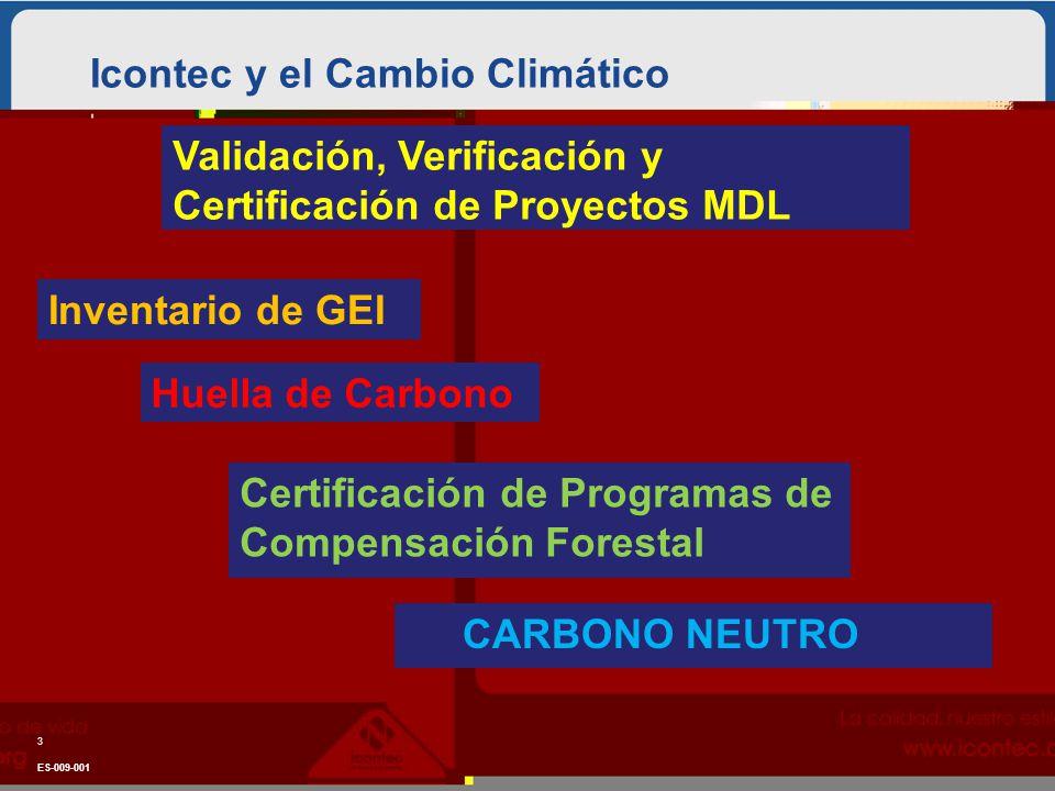 Icontec y el Cambio Climático ES-009-001 3 Inventario de GEI Huella de Carbono Certificación de Programas de Compensación Forestal CARBONO NEUTRO Validación, Verificación y Certificación de Proyectos MDL