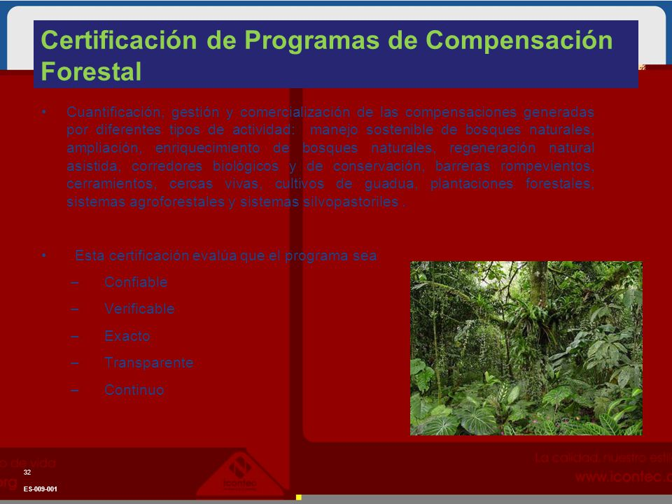 Certificación de Programas de Compensación Forestal Cuantificación, gestión y comercialización de las compensaciones generadas por diferentes tipos de