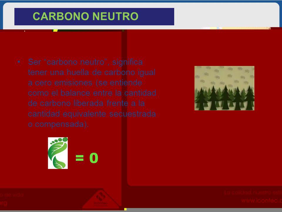 Ser carbono neutro, significa tener una huella de carbono igual a cero emisiones (se entiende como el balance entre la cantidad de carbono liberada fr