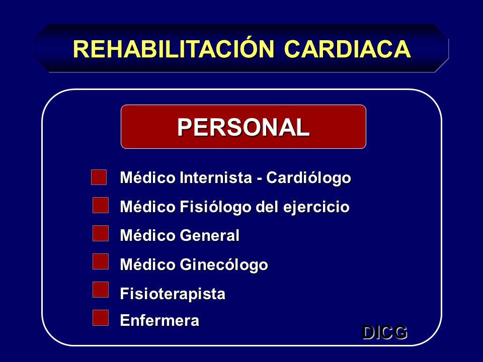 REHABILITACIÓN CARDIACA PERSONAL Médico Internista - Cardiólogo Médico Fisiólogo del ejercicio Médico General Médico Ginecólogo FisioterapistaEnfermera DICG