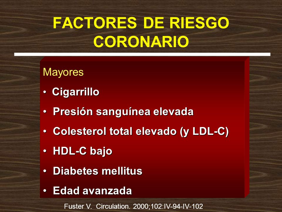 FACTORES DE RIESGO CORONARIO Mayores Cigarrillo Cigarrillo Presión sanguínea elevada Presión sanguínea elevada Colesterol total elevado (y LDL-C) Colesterol total elevado (y LDL-C) HDL-C bajo HDL-C bajo Diabetes mellitus Diabetes mellitus Edad avanzada Edad avanzada Fuster V.