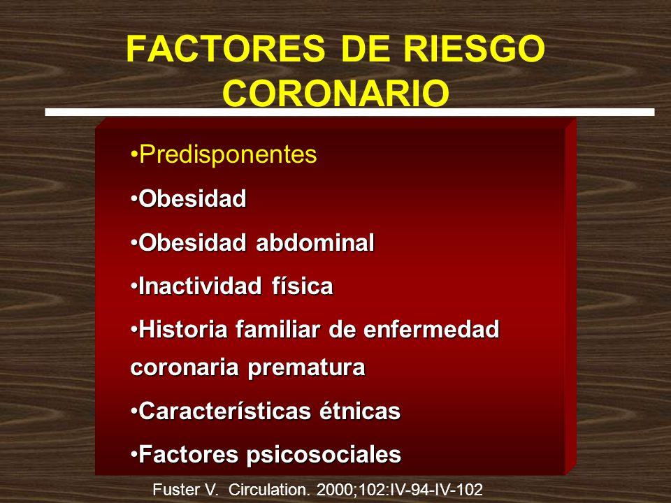 FACTORES DE RIESGO CORONARIO Predisponentes ObesidadObesidad Obesidad abdominalObesidad abdominal Inactividad físicaInactividad física Historia famili