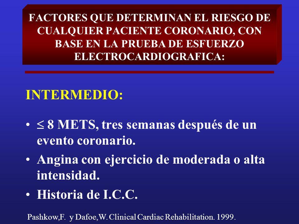 FACTORES QUE DETERMINAN EL RIESGO DE CUALQUIER PACIENTE CORONARIO, CON BASE EN LA PRUEBA DE ESFUERZO ELECTROCARDIOGRAFICA: INTERMEDIO: 8 METS, tres se