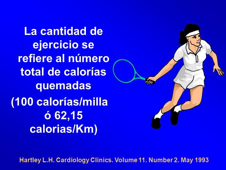Hartley L.H. Cardiology Clinics. Volume 11. Number 2. May 1993 La cantidad de ejercicio se refiere al número total de calorías quemadas (100 calorías/