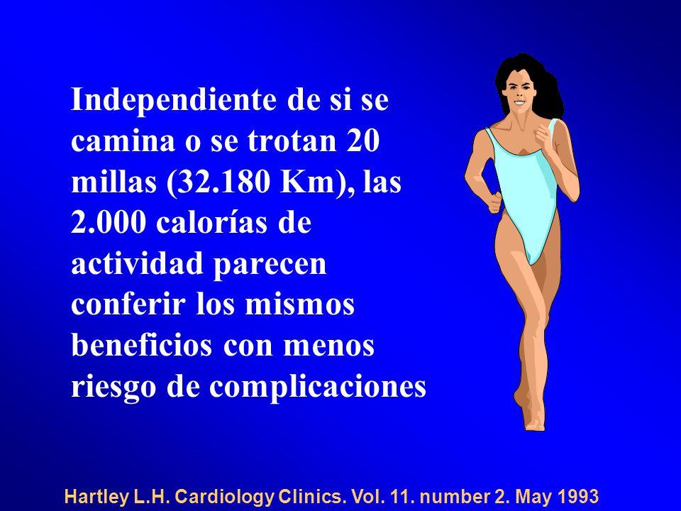 Independiente de si se camina o se trotan 20 millas (32.180 Km), las 2.000 calorías de actividad parecen conferir los mismos beneficios con menos riesgo de complicaciones Hartley L.H.