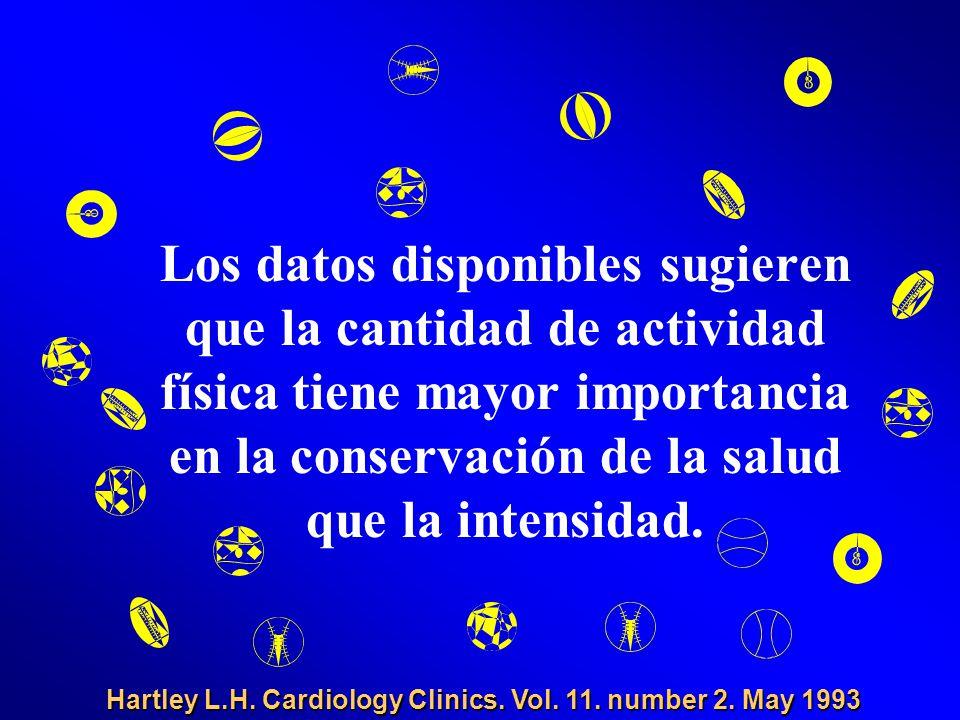 Los datos disponibles sugieren que la cantidad de actividad física tiene mayor importancia en la conservación de la salud que la intensidad. Hartley L