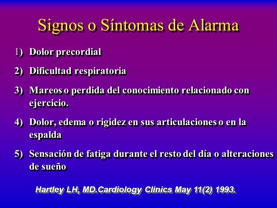 Signos o Síntomas de Alarma 1) Dolor precordial 2) Dificultad respiratoria 3) Mareos o perdida del conocimiento relacionado con ejercicio. 4) Dolor, e