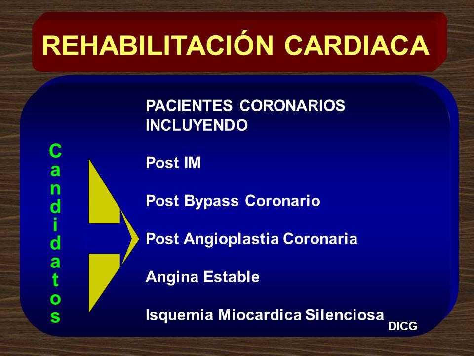 PACIENTES CORONARIOS INCLUYENDO Post IM Post Bypass Coronario Post Angioplastia Coronaria Angina Estable Isquemia Miocardica Silenciosa REHABILITACIÓN CARDIACA CandidatosCandidatos DICG