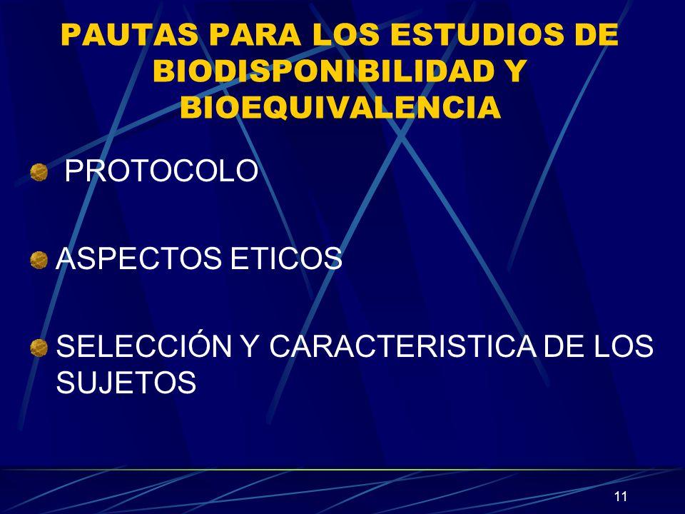 11 PAUTAS PARA LOS ESTUDIOS DE BIODISPONIBILIDAD Y BIOEQUIVALENCIA PROTOCOLO ASPECTOS ETICOS SELECCIÓN Y CARACTERISTICA DE LOS SUJETOS