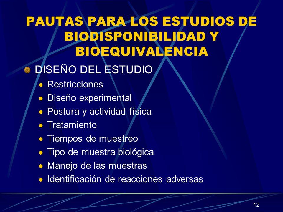 12 PAUTAS PARA LOS ESTUDIOS DE BIODISPONIBILIDAD Y BIOEQUIVALENCIA DISEÑO DEL ESTUDIO Restricciones Diseño experimental Postura y actividad física Tra
