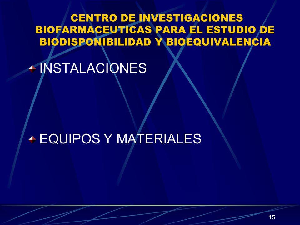 15 CENTRO DE INVESTIGACIONES BIOFARMACEUTICAS PARA EL ESTUDIO DE BIODISPONIBILIDAD Y BIOEQUIVALENCIA INSTALACIONES EQUIPOS Y MATERIALES