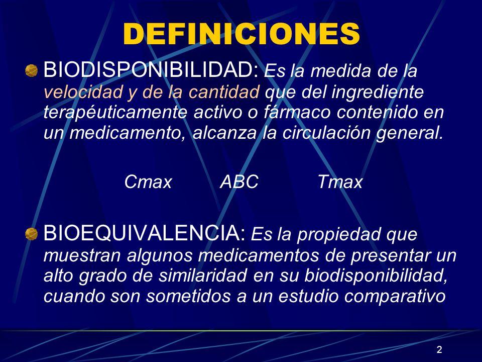 2 DEFINICIONES BIODISPONIBILIDAD: Es la medida de la velocidad y de la cantidad que del ingrediente terapéuticamente activo o fármaco contenido en un