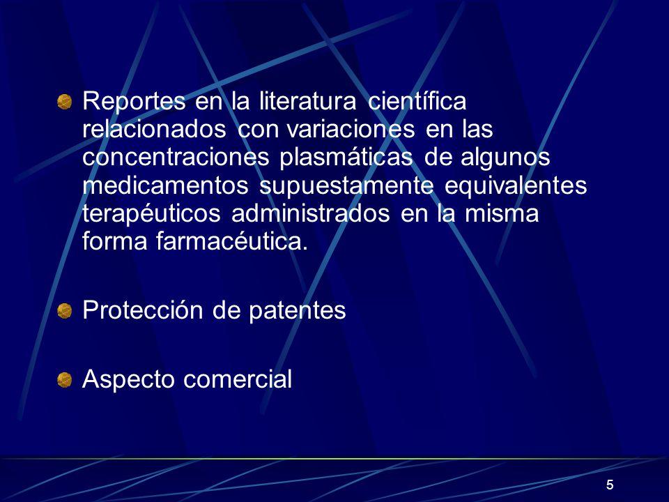 5 Reportes en la literatura científica relacionados con variaciones en las concentraciones plasmáticas de algunos medicamentos supuestamente equivalen