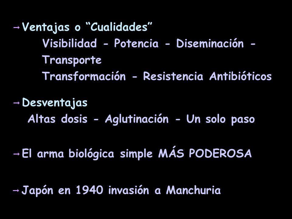 Peste Yersinia pestis Dosis: 100-500 microorganismos Incubación: 2 a 3 días.
