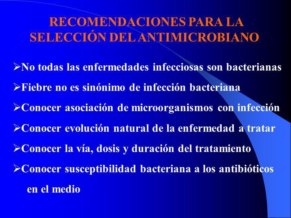 RECOMENDACIONES PARA LA SELECCIÓN DEL ANTIMICROBIANO No todas las enfermedades infecciosas son bacterianas Fiebre no es sinónimo de infección bacteria