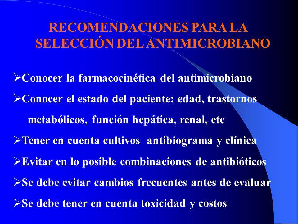 Conocer la farmacocinética del antimicrobiano Conocer el estado del paciente: edad, trastornos metabólicos, función hepática, renal, etc Tener en cuen