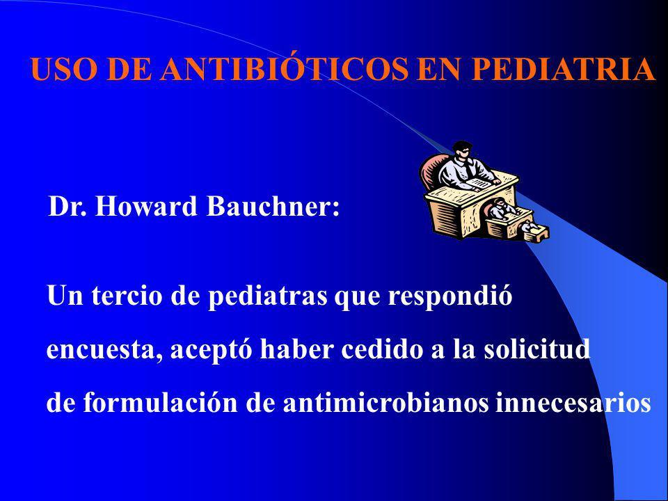 USO DE ANTIBIÓTICOS EN PEDIATRIA Dr. Howard Bauchner: Un tercio de pediatras que respondió encuesta, aceptó haber cedido a la solicitud de formulación