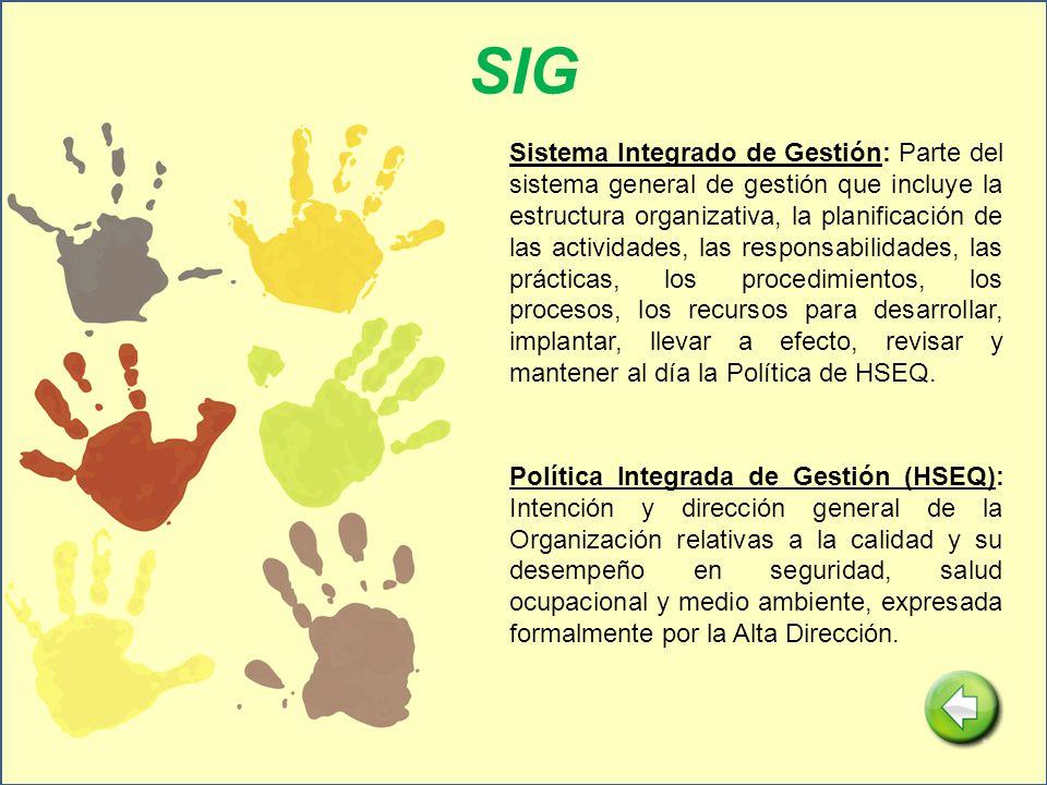 SIG Sistema Integrado de Gestión: Parte del sistema general de gestión que incluye la estructura organizativa, la planificación de las actividades, la