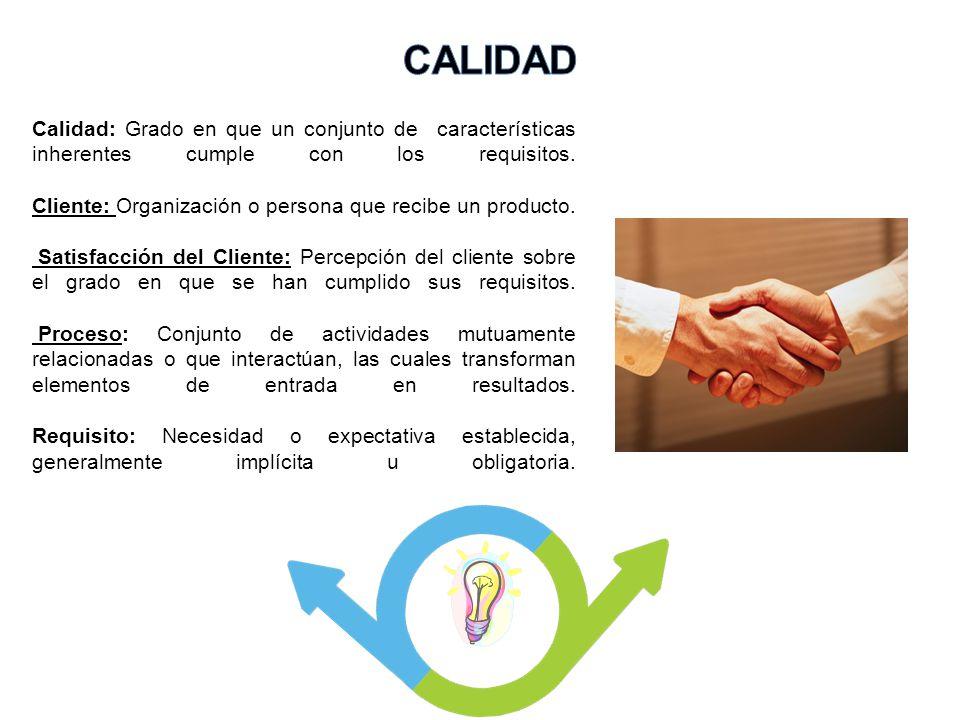 Calidad: Grado en que un conjunto de características inherentes cumple con los requisitos. Cliente: Organización o persona que recibe un producto. Sat