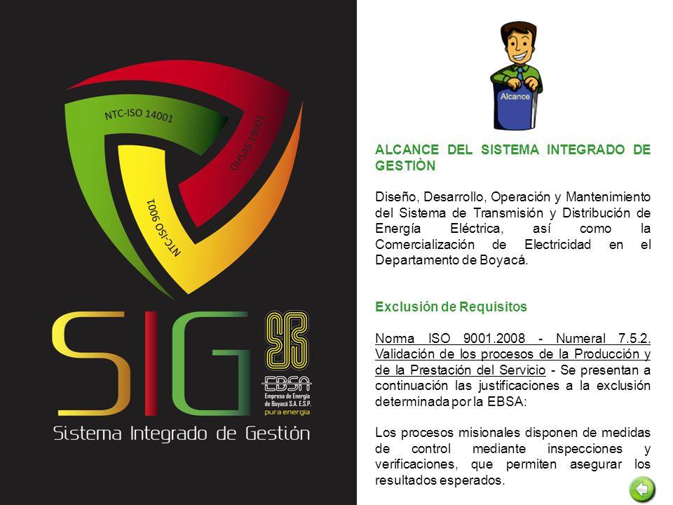 ALCANCE DEL SISTEMA INTEGRADO DE GESTIÒN Diseño, Desarrollo, Operación y Mantenimiento del Sistema de Transmisión y Distribución de Energía Eléctrica,