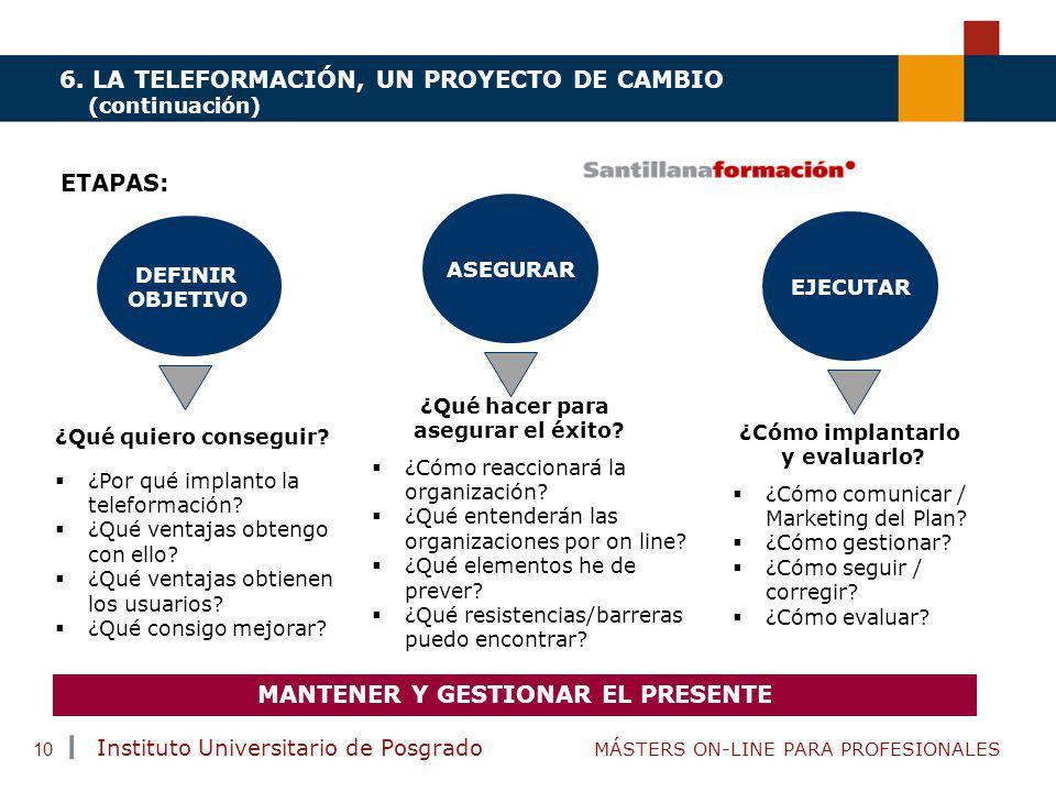 TENDENCIAS ACTUALES EN CAPACITACIÓN Instituto Universitario de Posgrado MÁSTERS ON-LINE PARA PROFESIONALES 10 6. LA TELEFORMACIÓN, UN PROYECTO DE CAMB