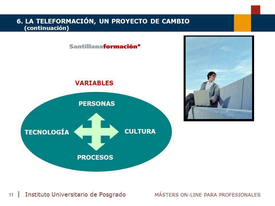 TENDENCIAS ACTUALES EN CAPACITACIÓN Instituto Universitario de Posgrado MÁSTERS ON-LINE PARA PROFESIONALES 11 6. LA TELEFORMACIÓN, UN PROYECTO DE CAMB
