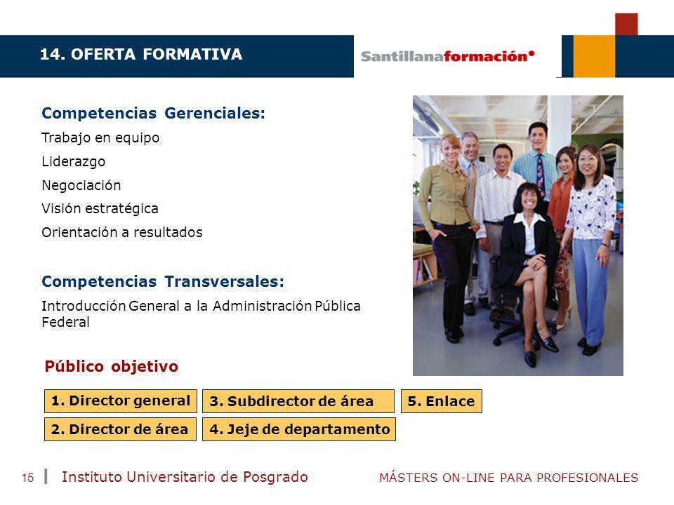 TENDENCIAS ACTUALES EN CAPACITACIÓN Instituto Universitario de Posgrado MÁSTERS ON-LINE PARA PROFESIONALES 15 Competencias Gerenciales: Trabajo en equ
