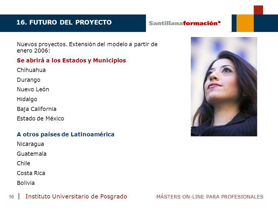 TENDENCIAS ACTUALES EN CAPACITACIÓN Instituto Universitario de Posgrado MÁSTERS ON-LINE PARA PROFESIONALES 16 A otros países de Latinoamérica Nicaragu