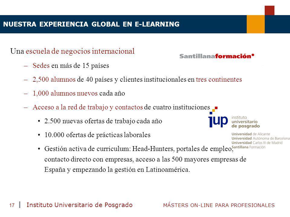 TENDENCIAS ACTUALES EN CAPACITACIÓN Instituto Universitario de Posgrado MÁSTERS ON-LINE PARA PROFESIONALES 17 NUESTRA EXPERIENCIA GLOBAL EN E-LEARNING