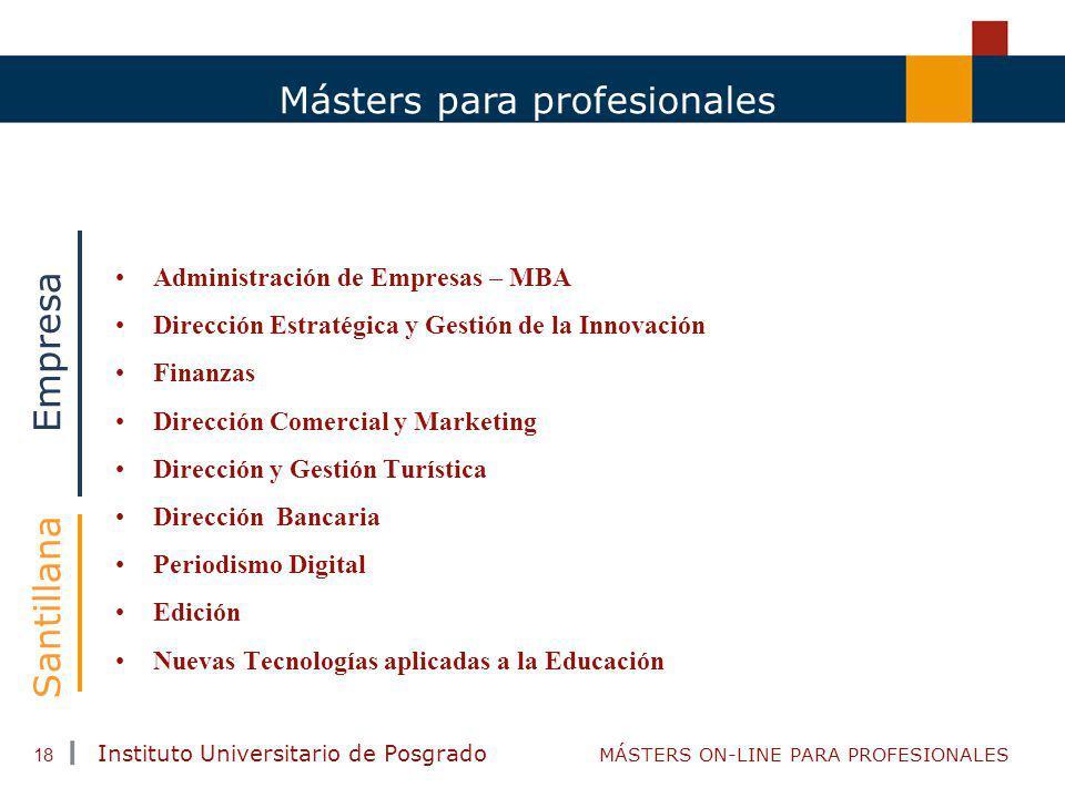 TENDENCIAS ACTUALES EN CAPACITACIÓN Instituto Universitario de Posgrado MÁSTERS ON-LINE PARA PROFESIONALES 18 Másters para profesionales Administració