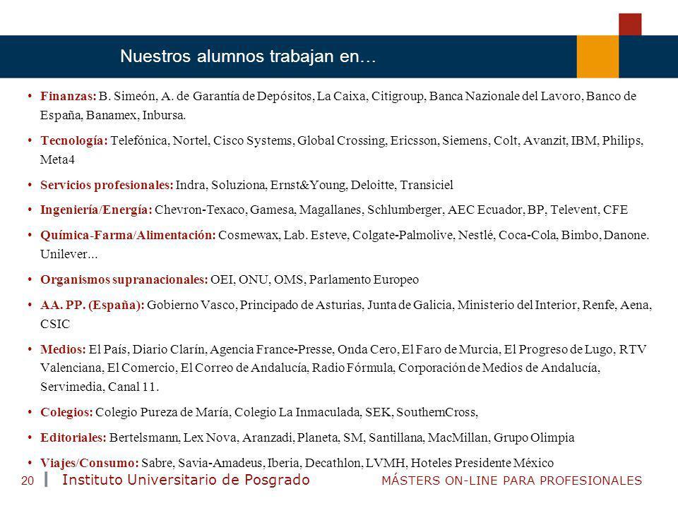TENDENCIAS ACTUALES EN CAPACITACIÓN Instituto Universitario de Posgrado MÁSTERS ON-LINE PARA PROFESIONALES 20 Finanzas: B. Simeón, A. de Garantía de D
