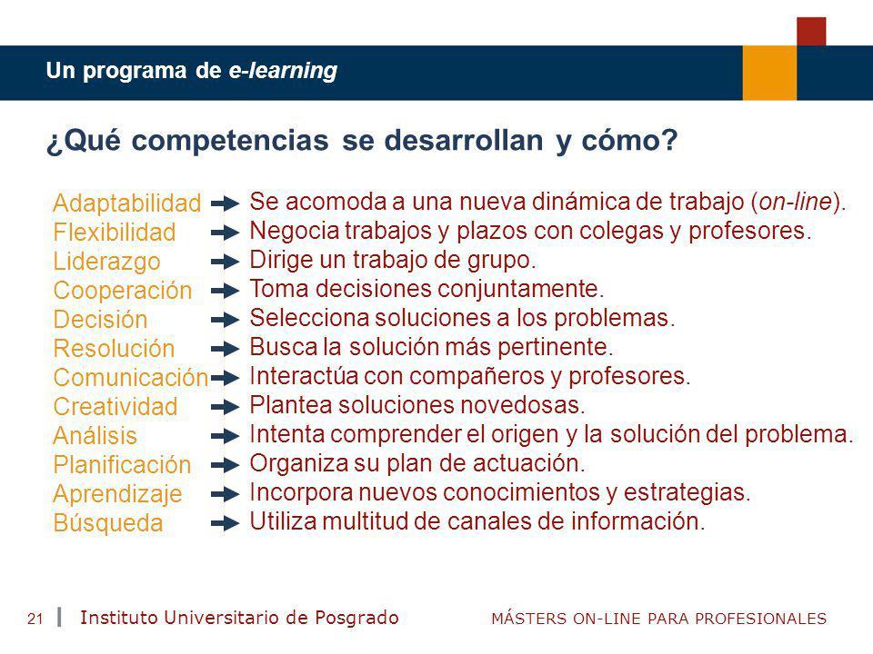 TENDENCIAS ACTUALES EN CAPACITACIÓN Instituto Universitario de Posgrado MÁSTERS ON-LINE PARA PROFESIONALES 21 ¿Qué competencias se desarrollan y cómo?