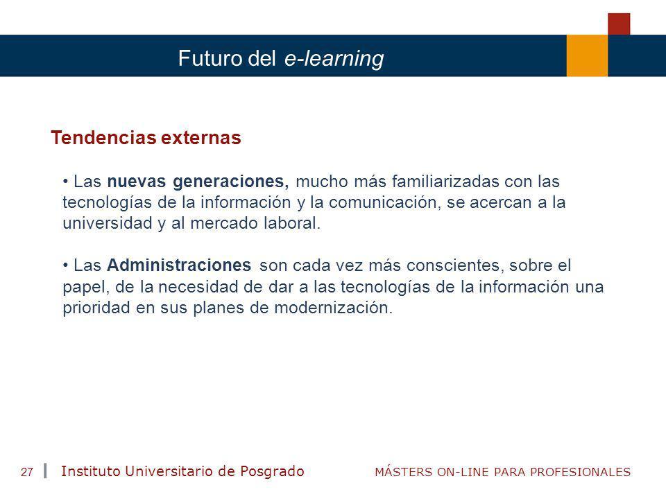 TENDENCIAS ACTUALES EN CAPACITACIÓN Instituto Universitario de Posgrado MÁSTERS ON-LINE PARA PROFESIONALES 27 Futuro del e-learning Tendencias externa