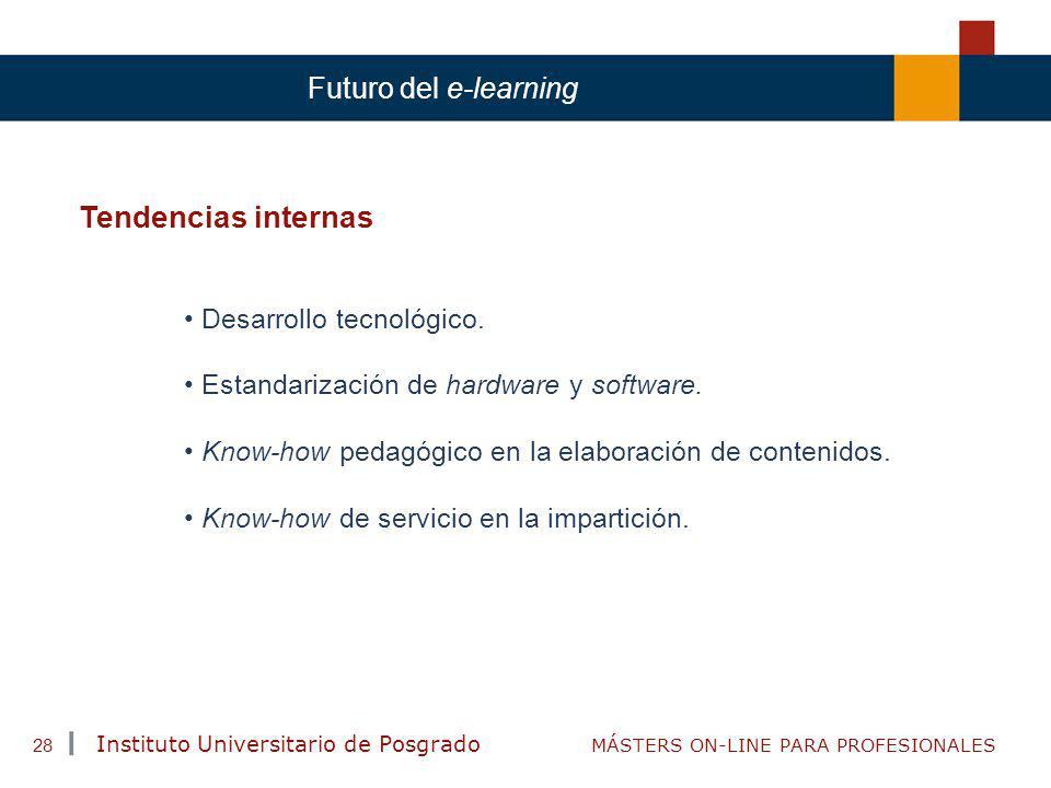 TENDENCIAS ACTUALES EN CAPACITACIÓN Instituto Universitario de Posgrado MÁSTERS ON-LINE PARA PROFESIONALES 28 Futuro del e-learning Tendencias interna