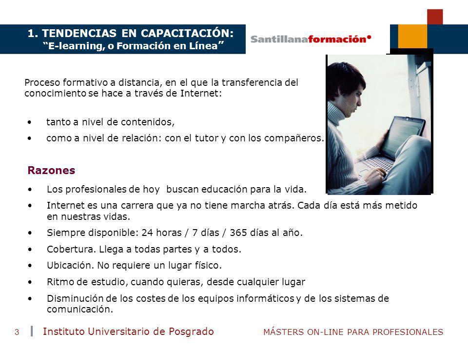 TENDENCIAS ACTUALES EN CAPACITACIÓN Instituto Universitario de Posgrado MÁSTERS ON-LINE PARA PROFESIONALES 3 Proceso formativo a distancia, en el que