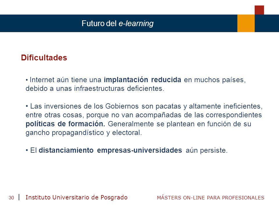 TENDENCIAS ACTUALES EN CAPACITACIÓN Instituto Universitario de Posgrado MÁSTERS ON-LINE PARA PROFESIONALES 30 Futuro del e-learning Dificultades Inter