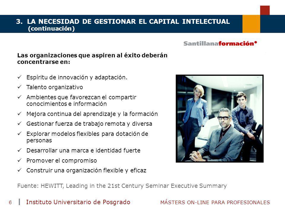 TENDENCIAS ACTUALES EN CAPACITACIÓN Instituto Universitario de Posgrado MÁSTERS ON-LINE PARA PROFESIONALES 6 3. LA NECESIDAD DE GESTIONAR EL CAPITAL I