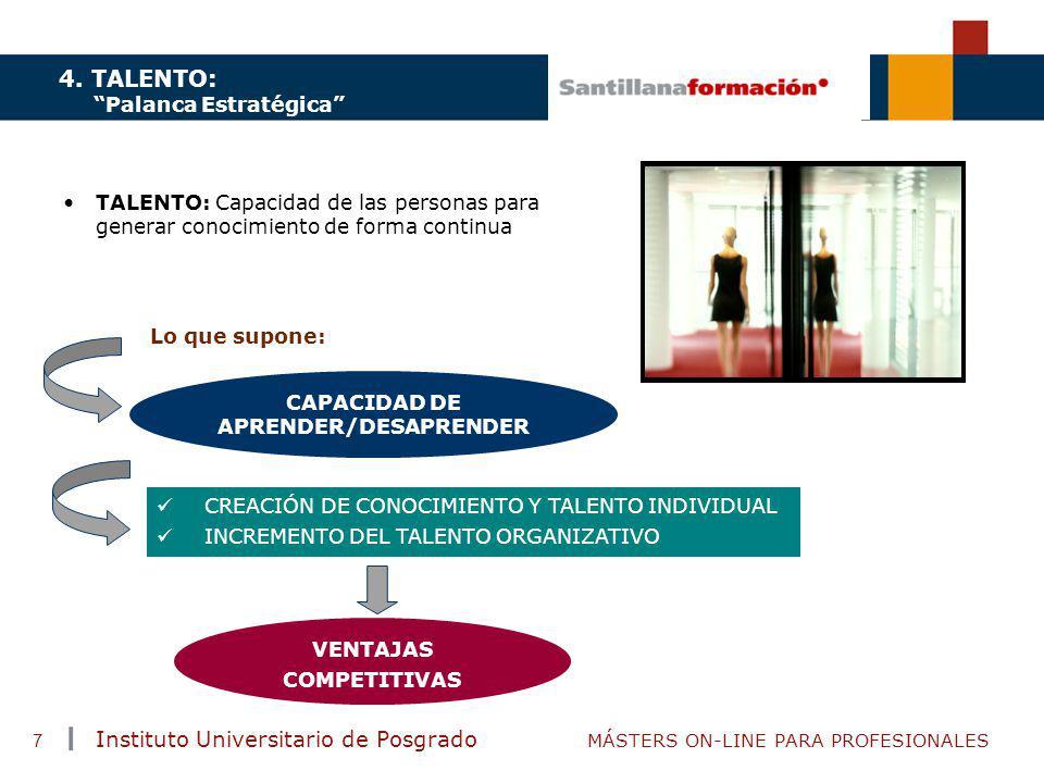TENDENCIAS ACTUALES EN CAPACITACIÓN Instituto Universitario de Posgrado MÁSTERS ON-LINE PARA PROFESIONALES 7 4. TALENTO: Palanca Estratégica TALENTO:
