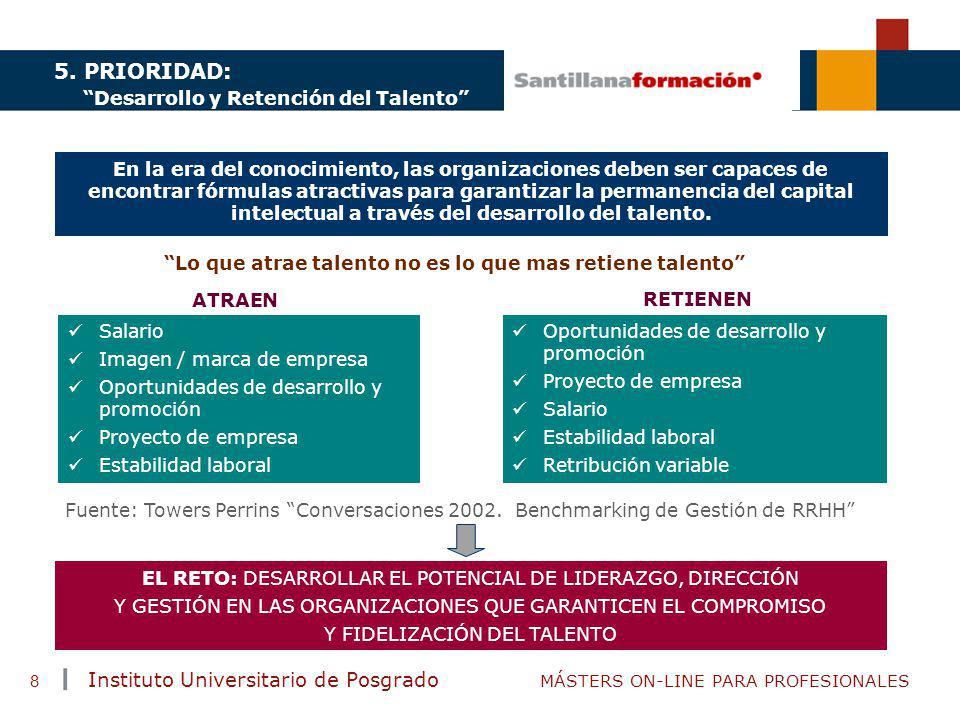 TENDENCIAS ACTUALES EN CAPACITACIÓN Instituto Universitario de Posgrado MÁSTERS ON-LINE PARA PROFESIONALES 8 5. PRIORIDAD: Desarrollo y Retención del