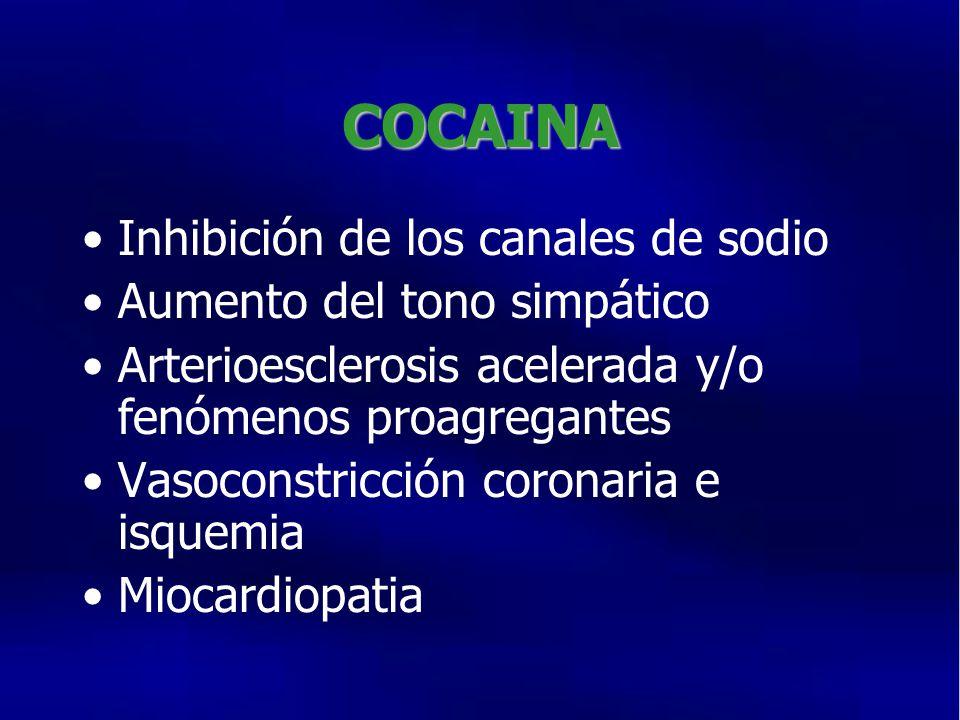 COCAINA Inhibición de los canales de sodio Aumento del tono simpático Arterioesclerosis acelerada y/o fenómenos proagregantes Vasoconstricción coronaria e isquemia Miocardiopatia