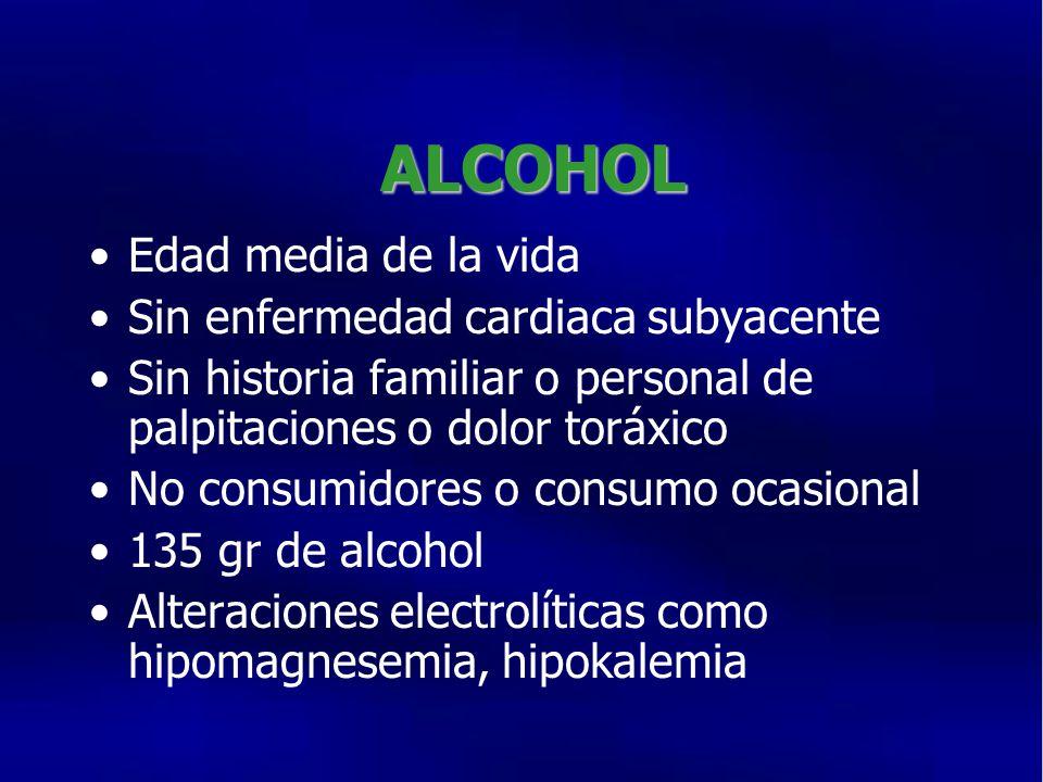 ALCOHOL Edad media de la vida Sin enfermedad cardiaca subyacente Sin historia familiar o personal de palpitaciones o dolor toráxico No consumidores o