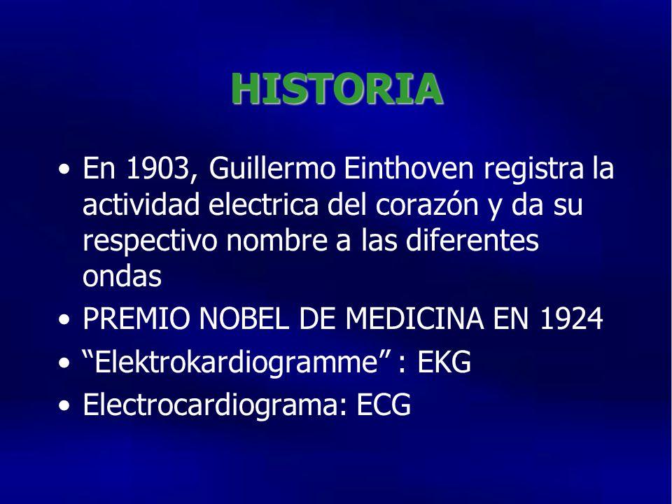 HISTORIA En 1903, Guillermo Einthoven registra la actividad electrica del corazón y da su respectivo nombre a las diferentes ondas PREMIO NOBEL DE MEDICINA EN 1924 Elektrokardiogramme : EKG Electrocardiograma: ECG